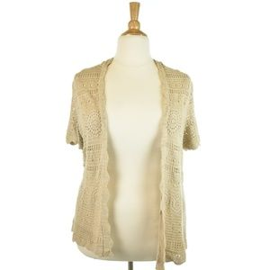 Lord & Taylor Tan Crochet Cardigan